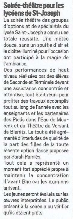 Article presse St Jo Lycée théâtre