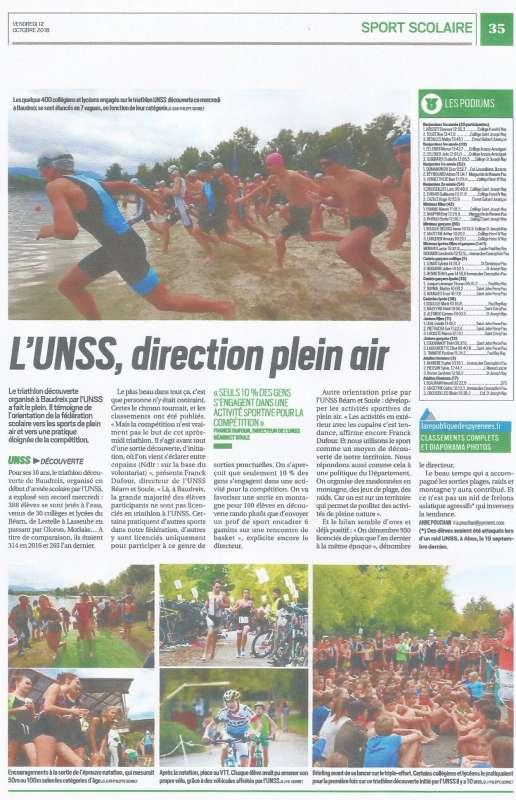 triathlon Unss Baudreix article presse 2018